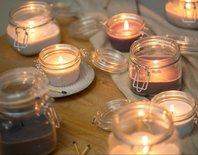 Rustik Lys - Weckglas Kerze Leinen L