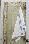 Mijn Stijl - Theedoek wit / dubbele donker blauwe streep