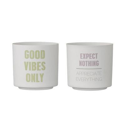 Bloomingville - Teelichthalter Good vibes s/2