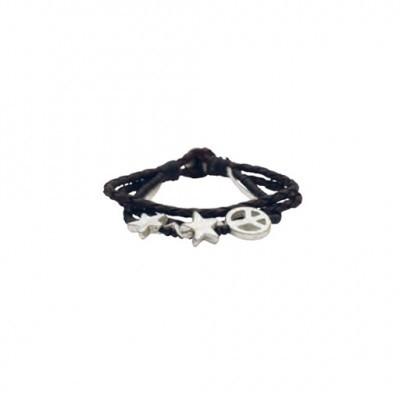 Lisbeth Dahl Copenhagen - Armband Zwart leer met wit & zilver