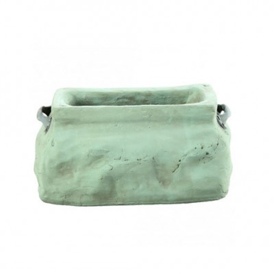 PTMD - Dull green ceramic oval Pot s