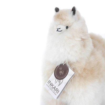 Inkari - Alpaca zachte knuffel Gemêleerd naturel / beige Medium