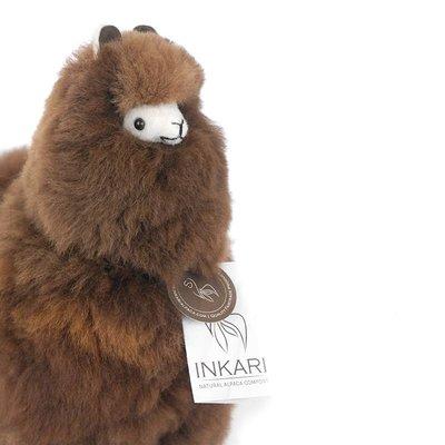 Inkari - Alpaca zachte knuffel Donkerbruin Medium