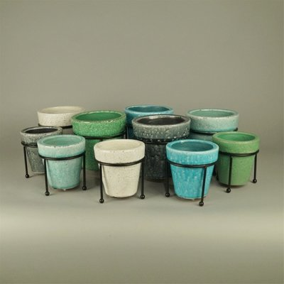 BRYNXZ - Set of pots pre spring classic with iron stand grey