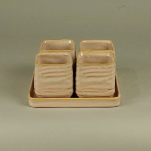 BRYNXZ - Set of plate and pots square cosy spring Pink