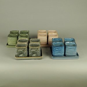 BRYNXZ - Set of plate and pots square cosy spring Blue