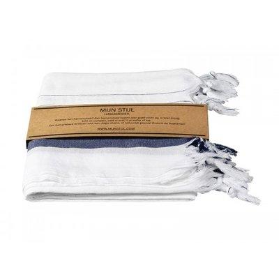 Mijn Stijl - Hamamdoek Wit met blauwe streep