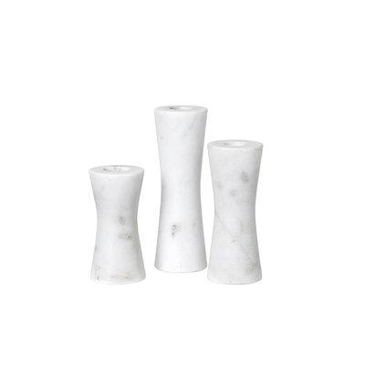 Broste Copenhagen - Kerzenständer set Sage Marmor weiß