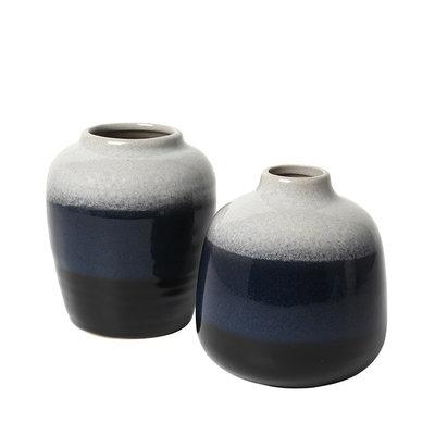 Broste Copenhagen - Vase Lau s/2 Insignia blau / schwarz