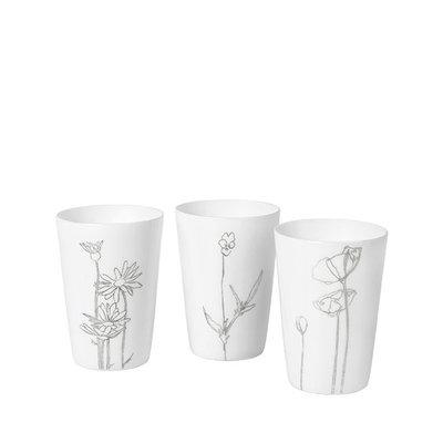 Broste Copenhagen - Teelichthalter Bloom s/3 weiß / Silber