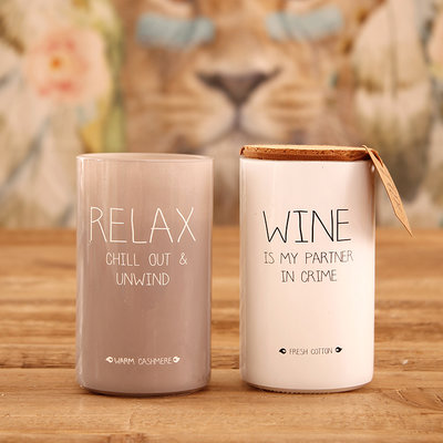 My flame - Sojakerze Wine is my partner in crime Fresh cotton