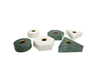 MrsBloom - Kerzenständer Collin Hexagon Grün Marmor